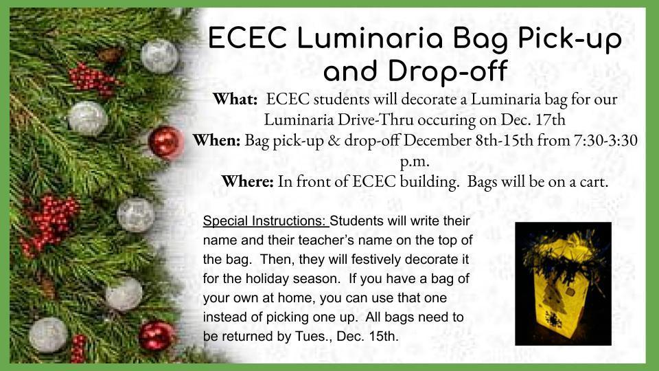 Luminaria Bag drop off and pick up