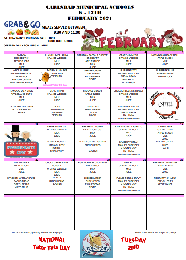 February Lunch Menus