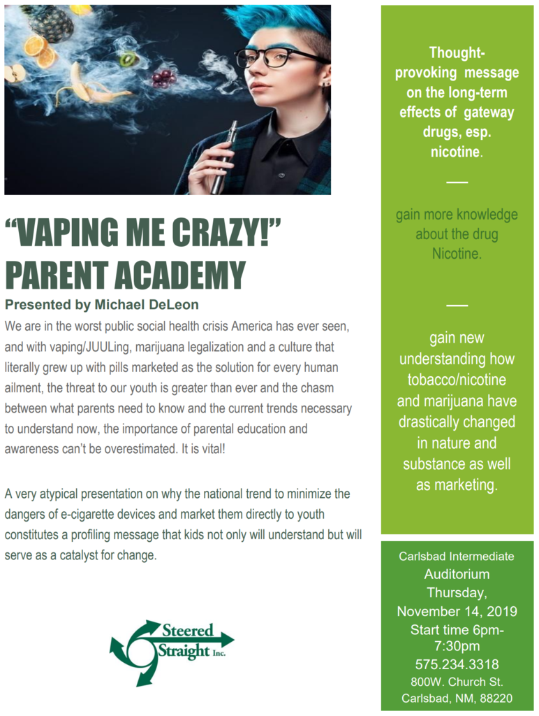 Flyer for Vaping me Crazy Parent Academy